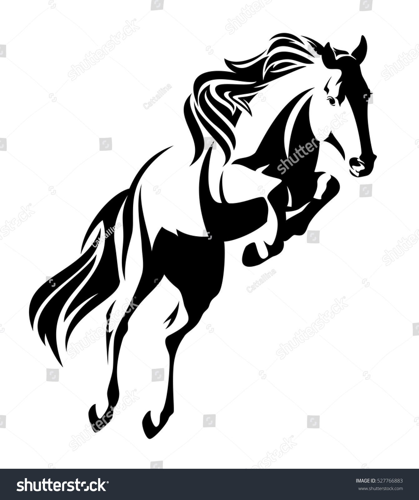 Jumping Horse Black White Vector Outline Stock Vector Royalty Free 527766883