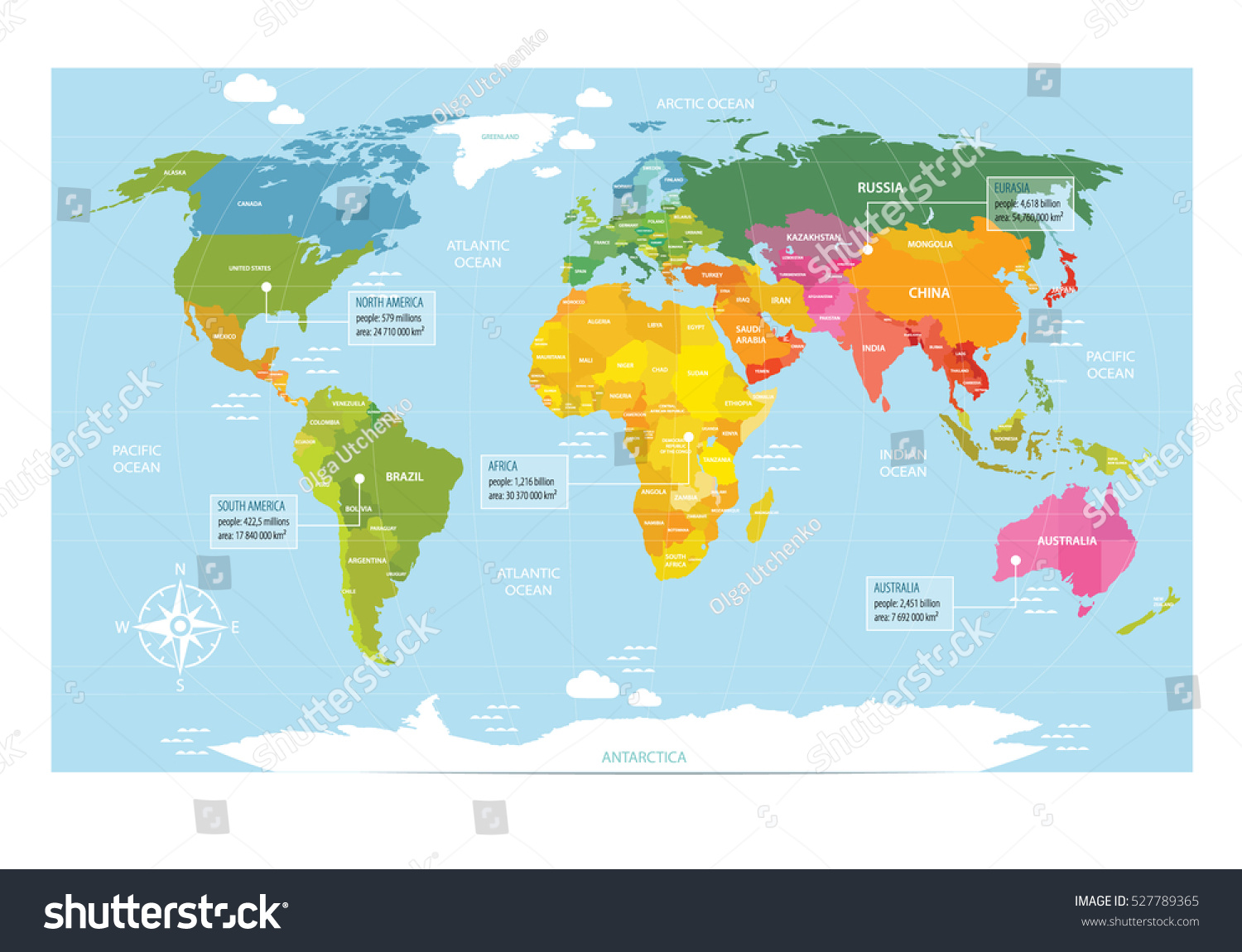 vector map of the world with countries america eurasia australia africa