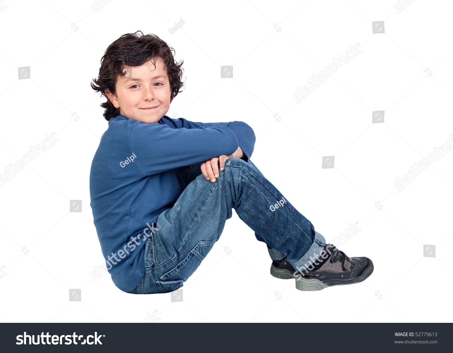 adorable child sitting on the floor isolated on white background stock photo 52779613 shutterstock. Black Bedroom Furniture Sets. Home Design Ideas