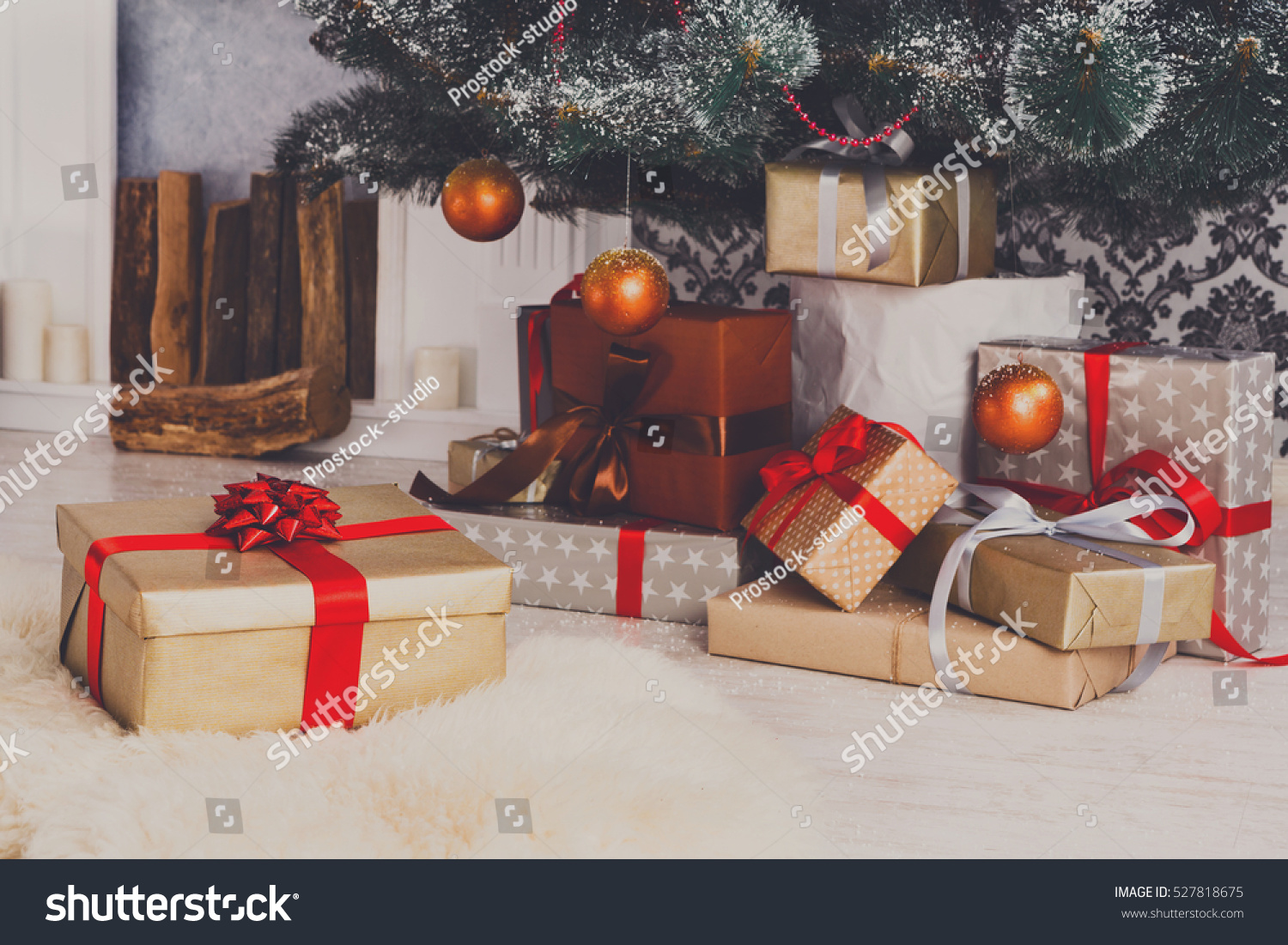Presents And Gifts Under Christmas Tree Winter Holiday Concept