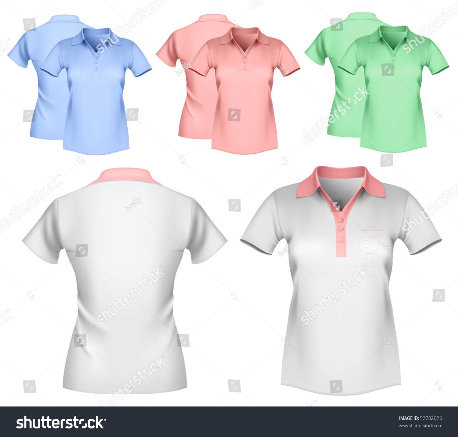 Vector illustration woman color white polo stock vector for Polo shirt design template