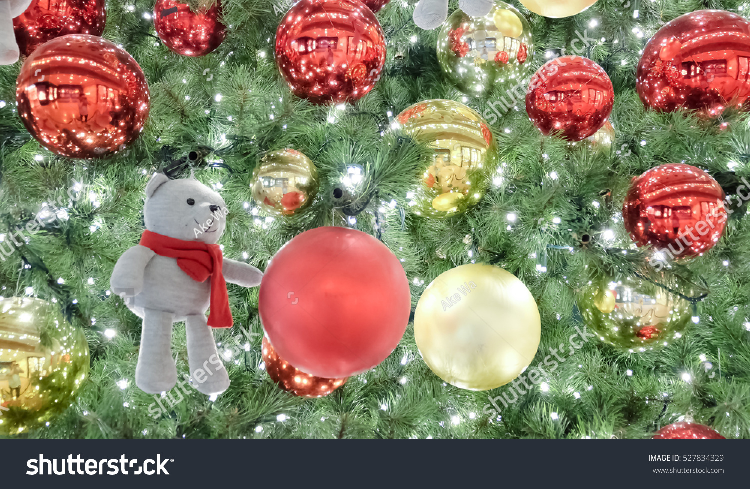 Bear red yellow balls on christmas stock photo 527834329 for Red and yellow christmas tree