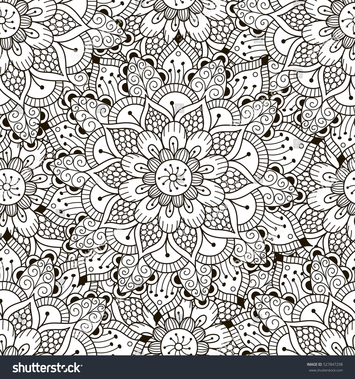 Floral Ornament Seamless Pattern Coloring Pages Stock Vector ...