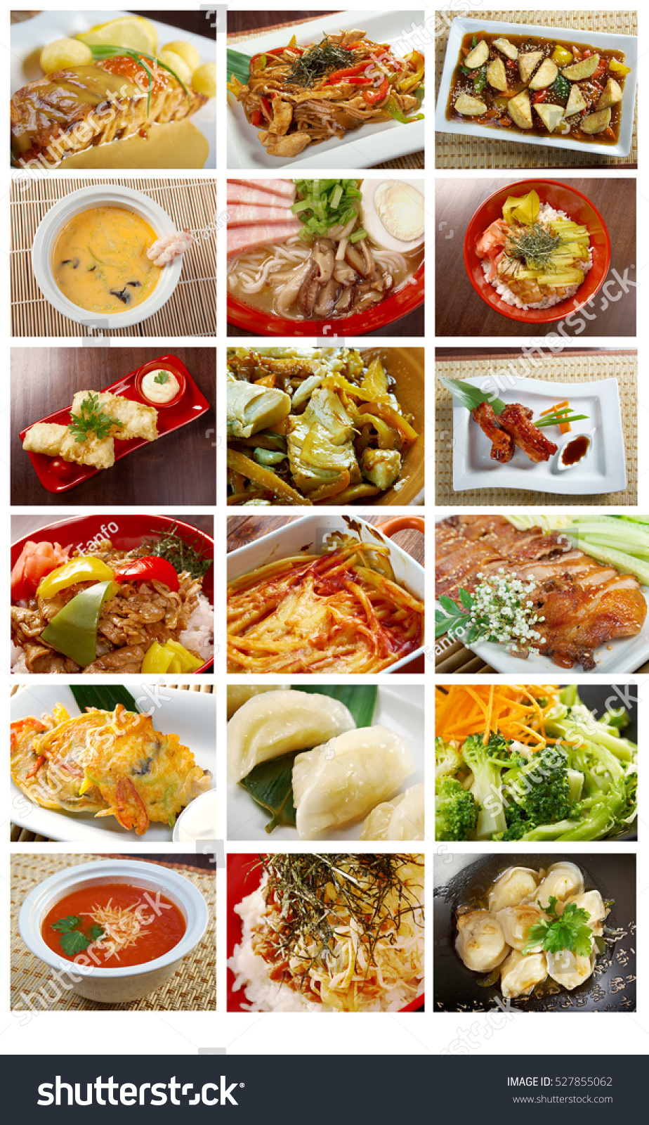 Food Mega Set Of Different Chinese Cuisine . Collage Stock