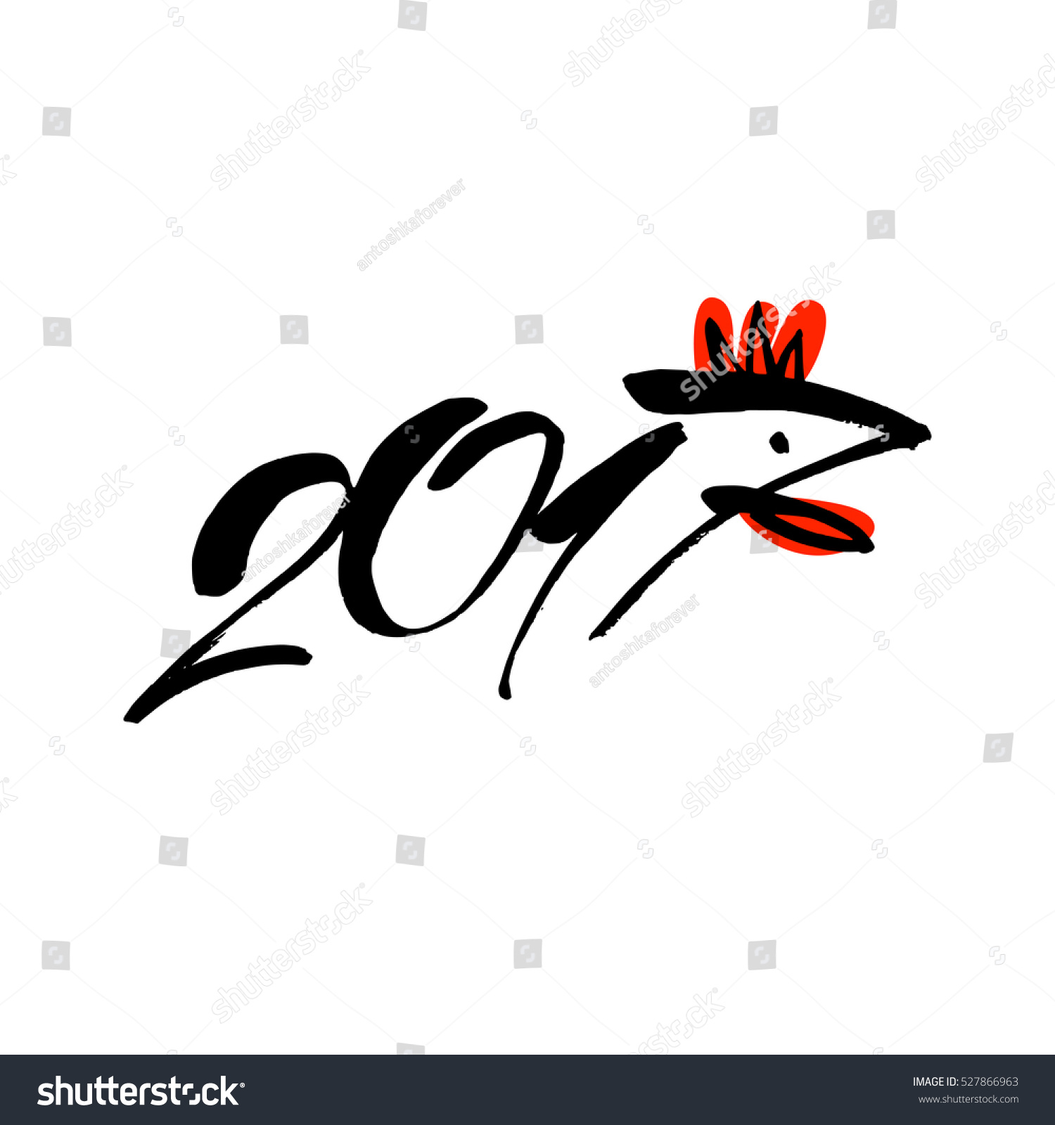2017 chinese new year rooster bird concept sign vector template element of design logo