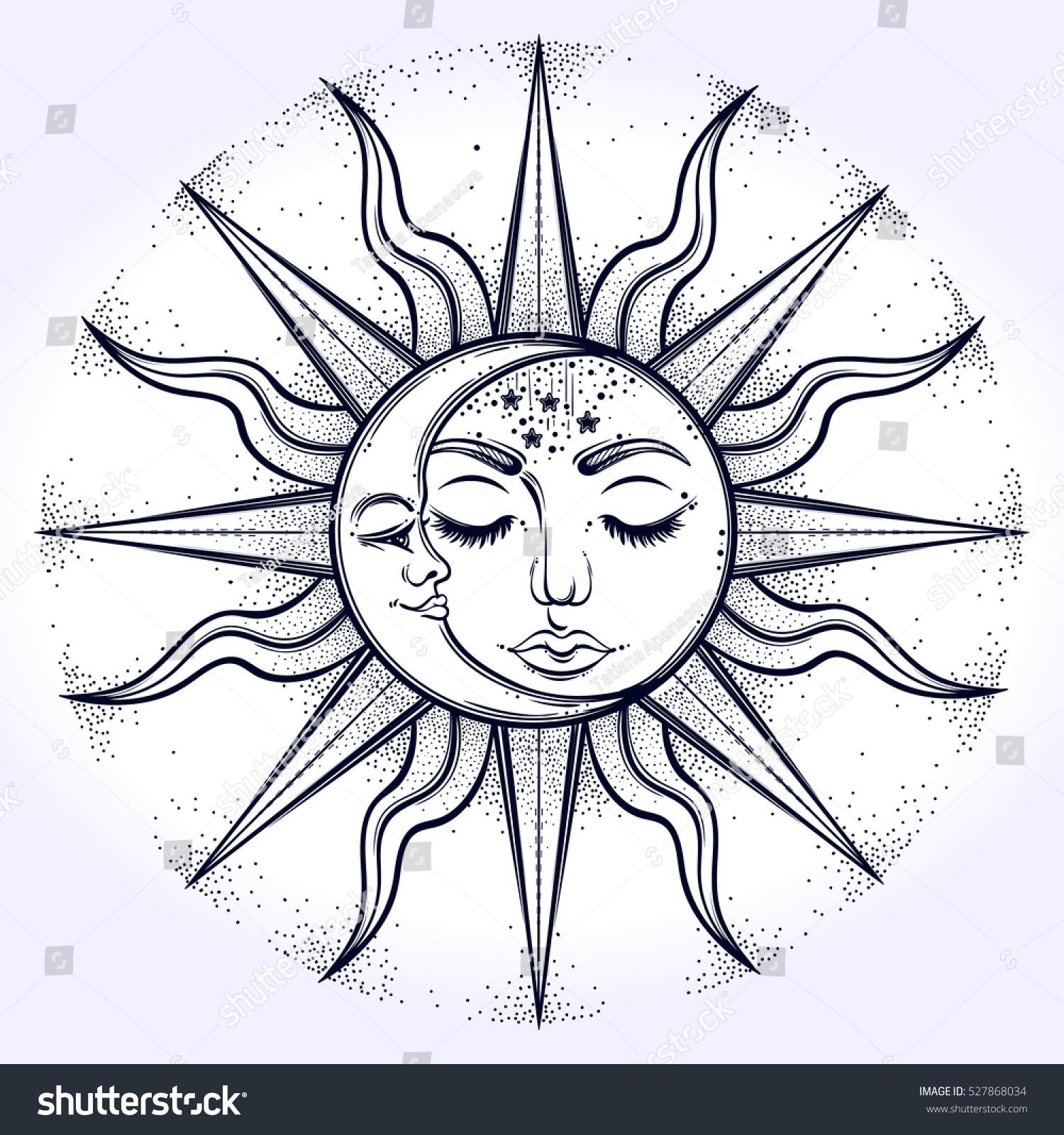 Line Drawing Sun Vector : Bohemian hand drawn sun moon vector stock