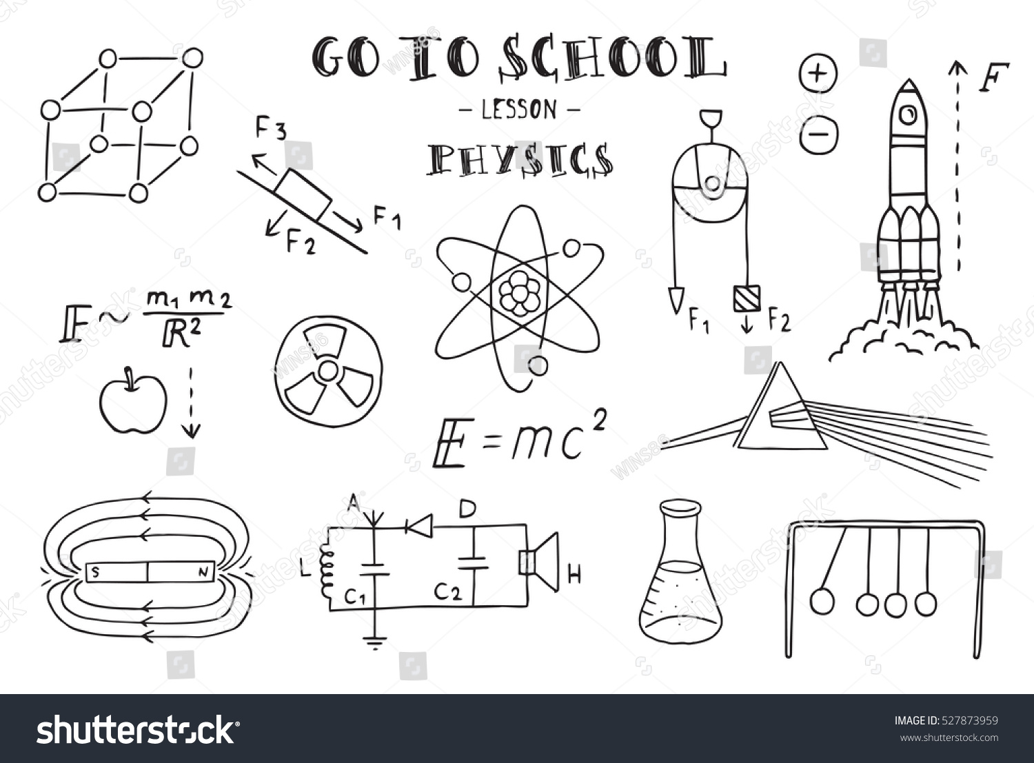 Hand sketches on the theme of physics vector illustration