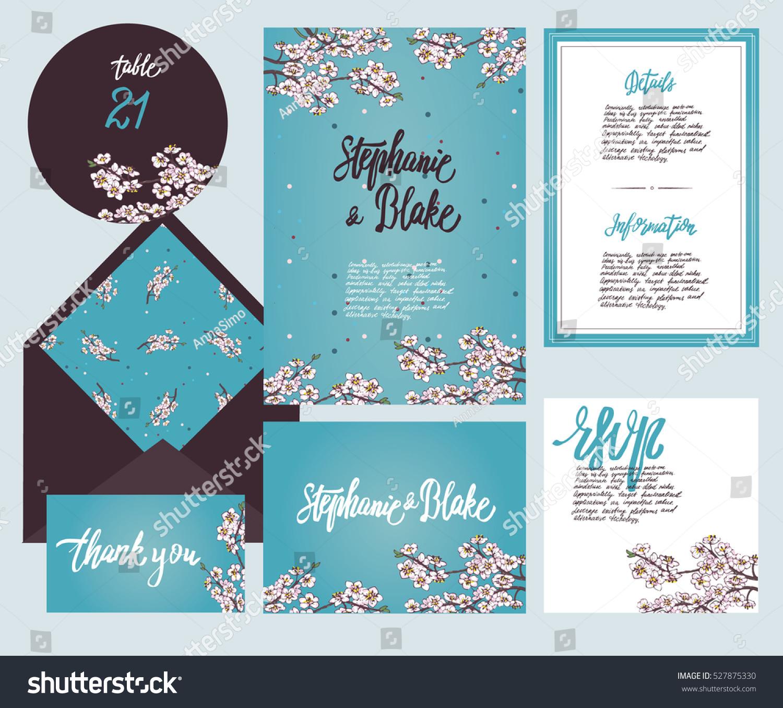 Set Templates Wedding Invitation Postcard Information Stock Vector ...