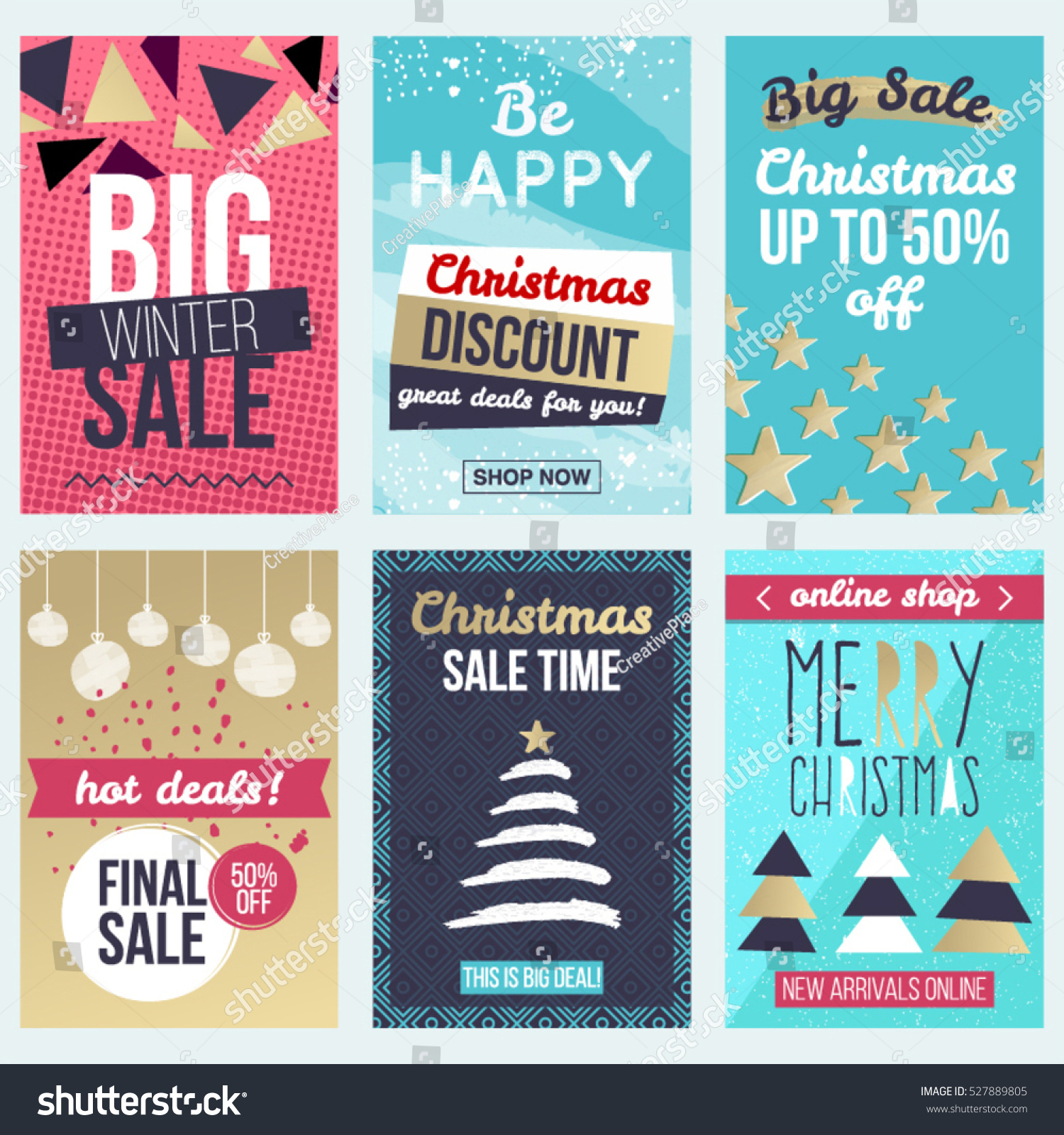 Set Flat Winter Holidays Christmas Banners Stock Vector Royalty