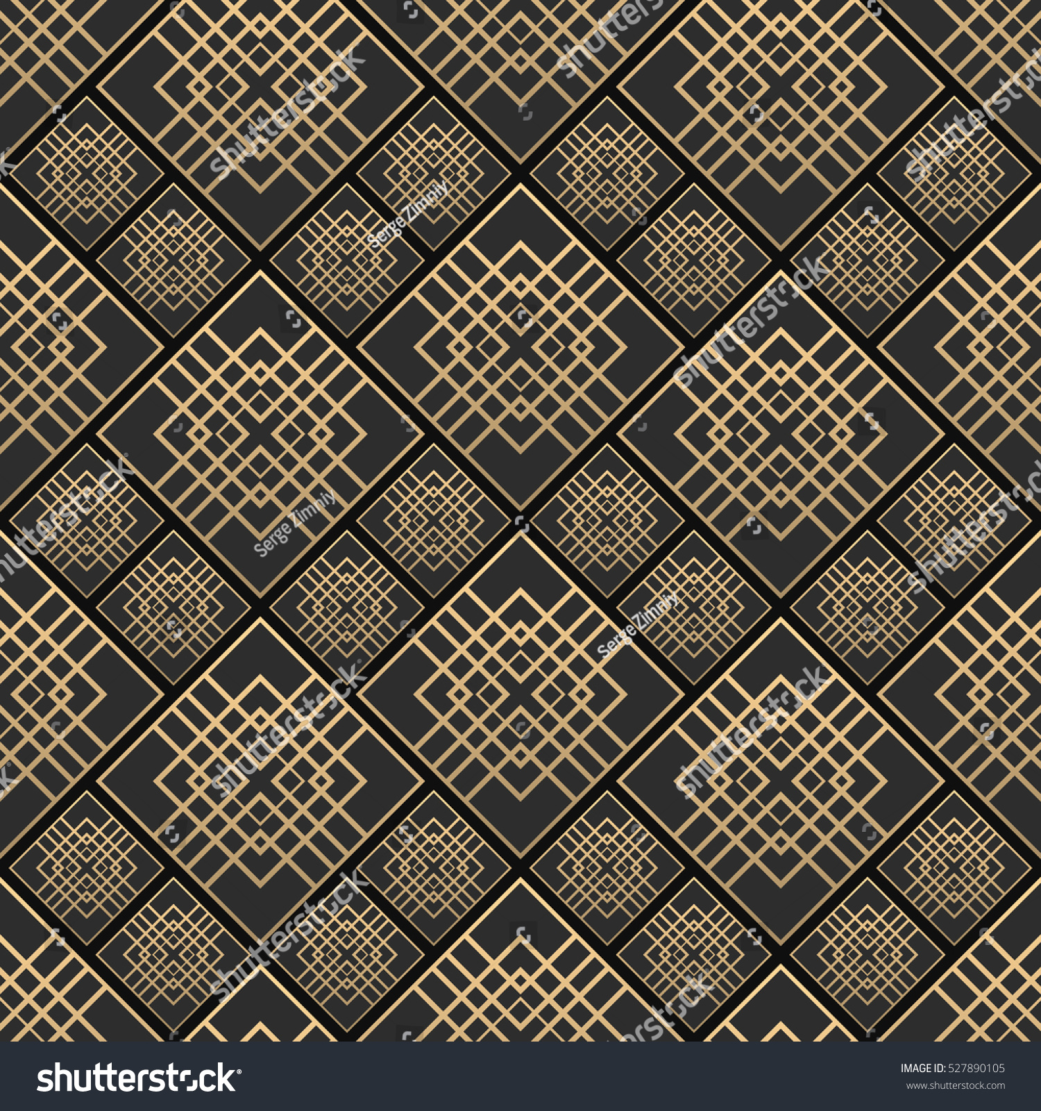 Seamless pattern art deco style black stock vector 527890105 seamless pattern in art deco style black and golden tilework 3d effect ceramic tiles dailygadgetfo Image collections