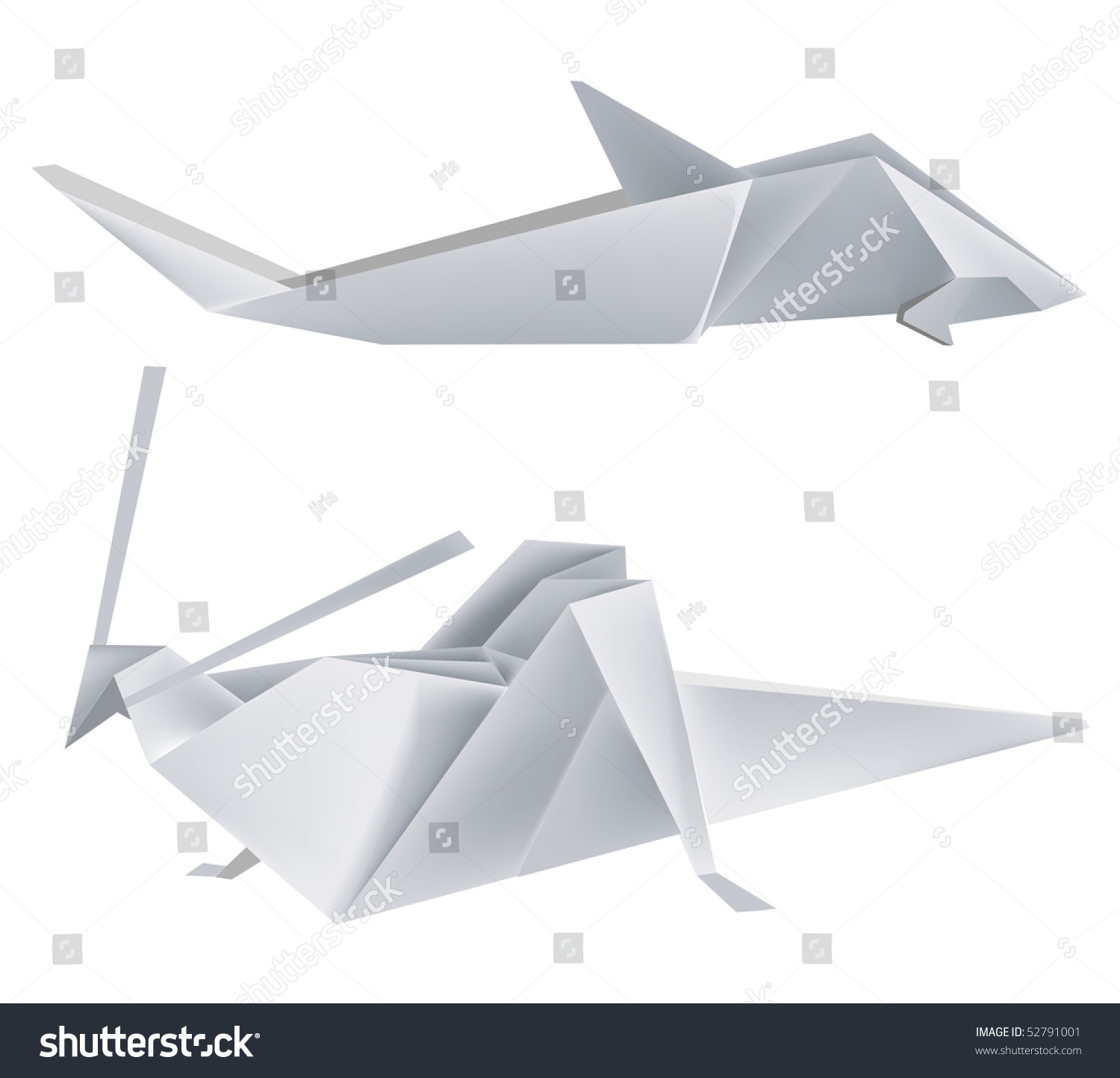 illustration of folded paper models grasshopper and shark save to a lightbox