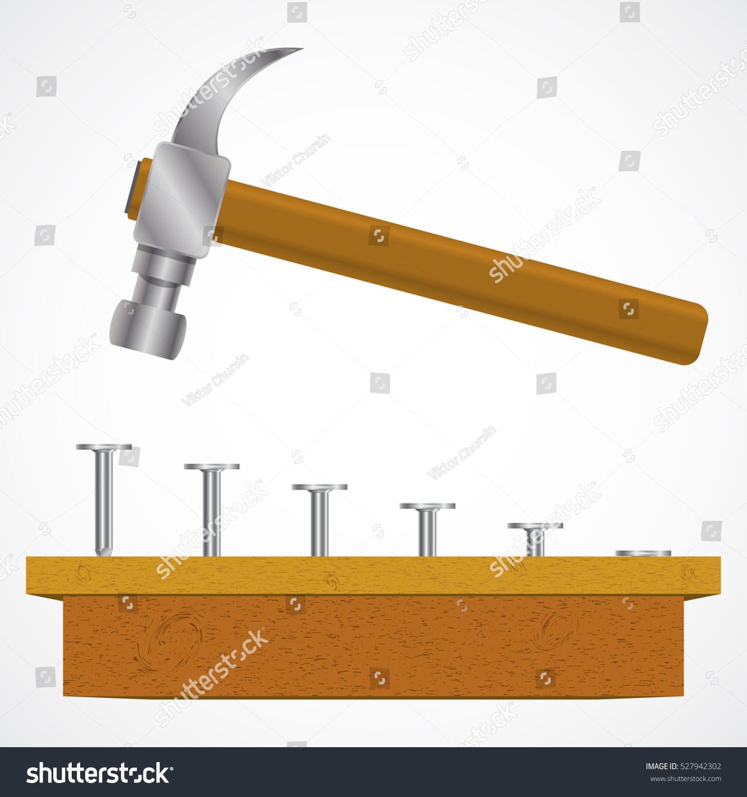 Vector Illustration Hammer: Hammer Nails Wood Planks Vector Illustration Stock Vector