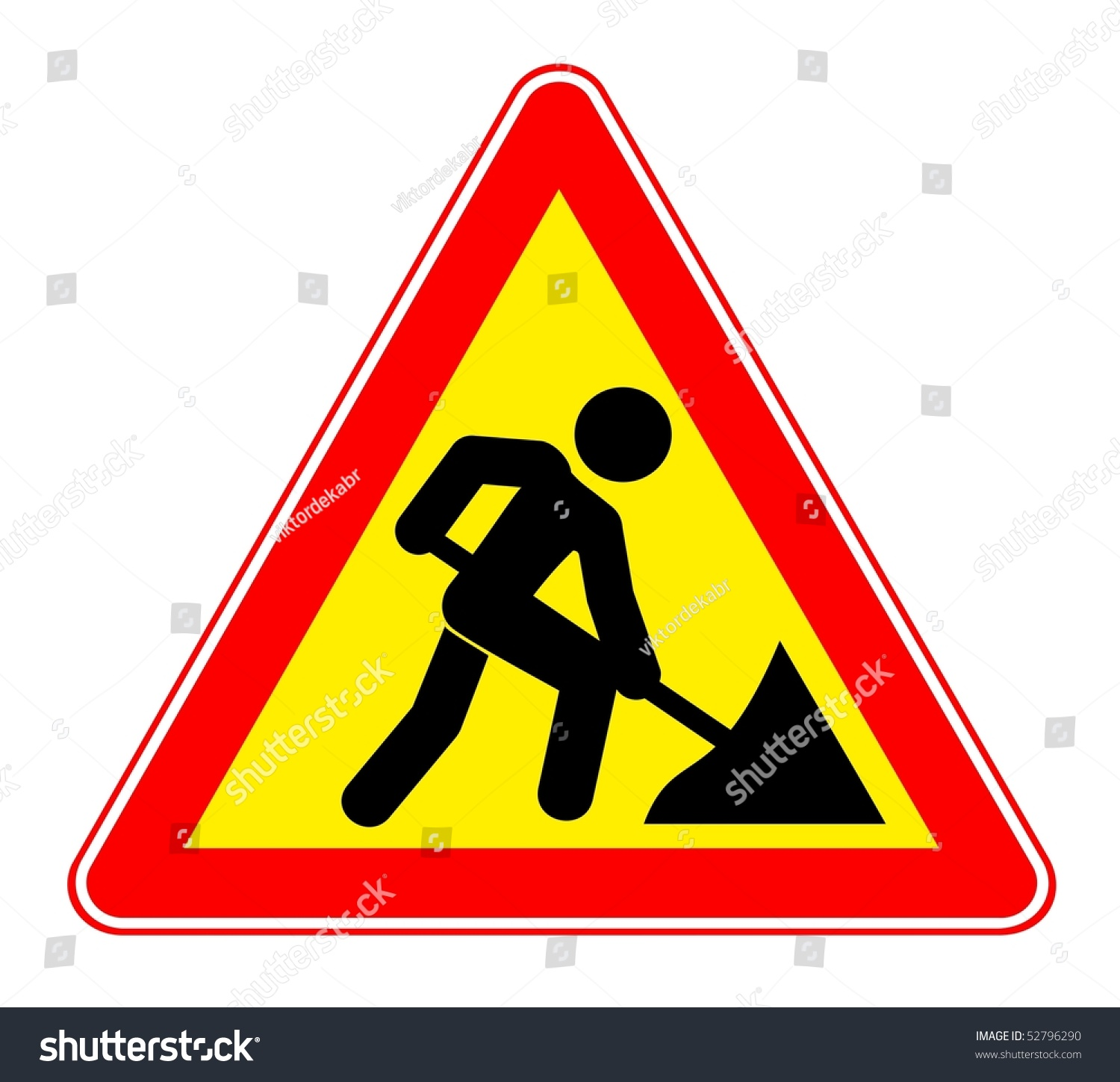 illustration warning sign about roadwork vector stock