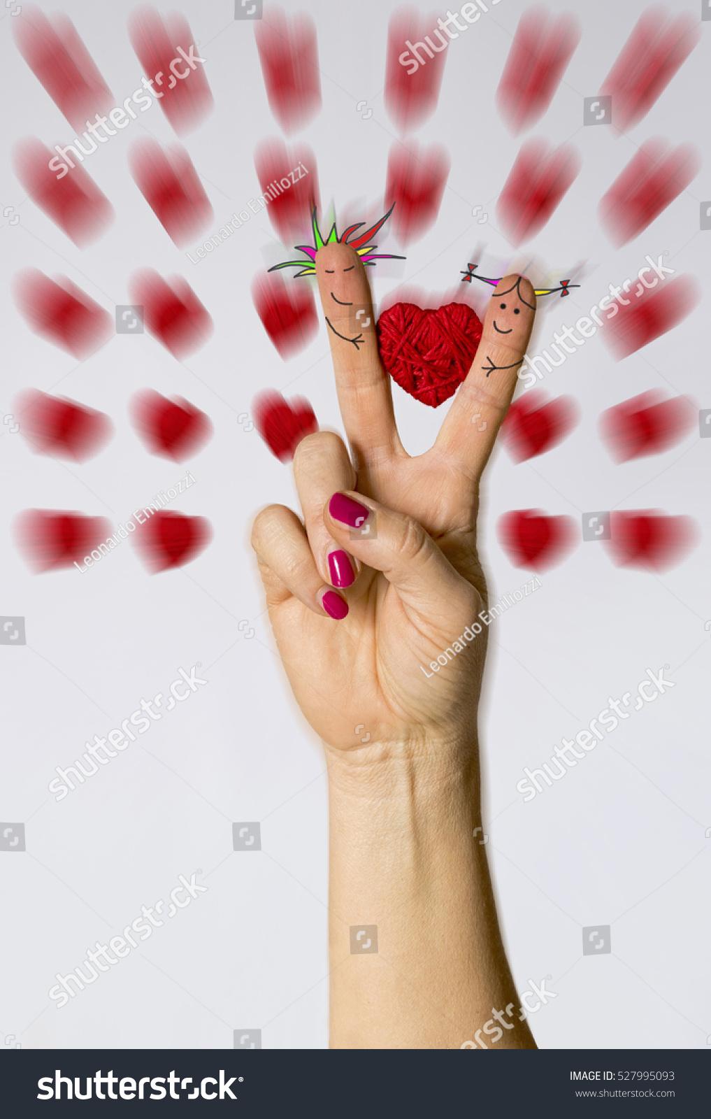 Symbol Loveheart Between Fingersboy Girl Drawn Stock Photo ...