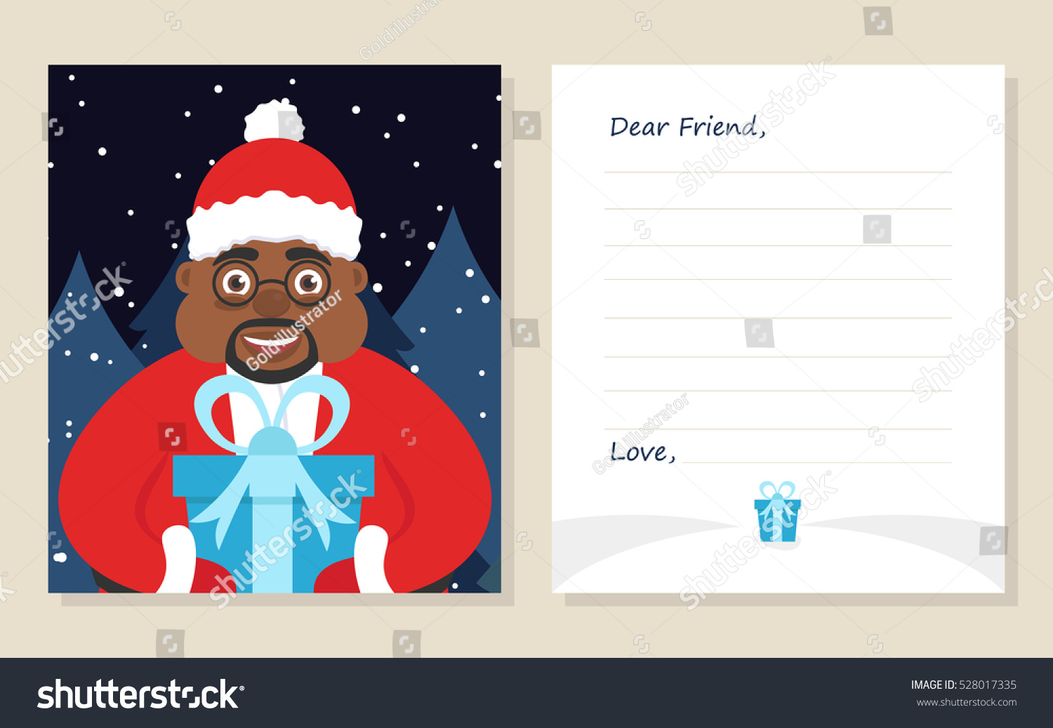 template greeting card new years or merry christmas letter to dear friend cute african american