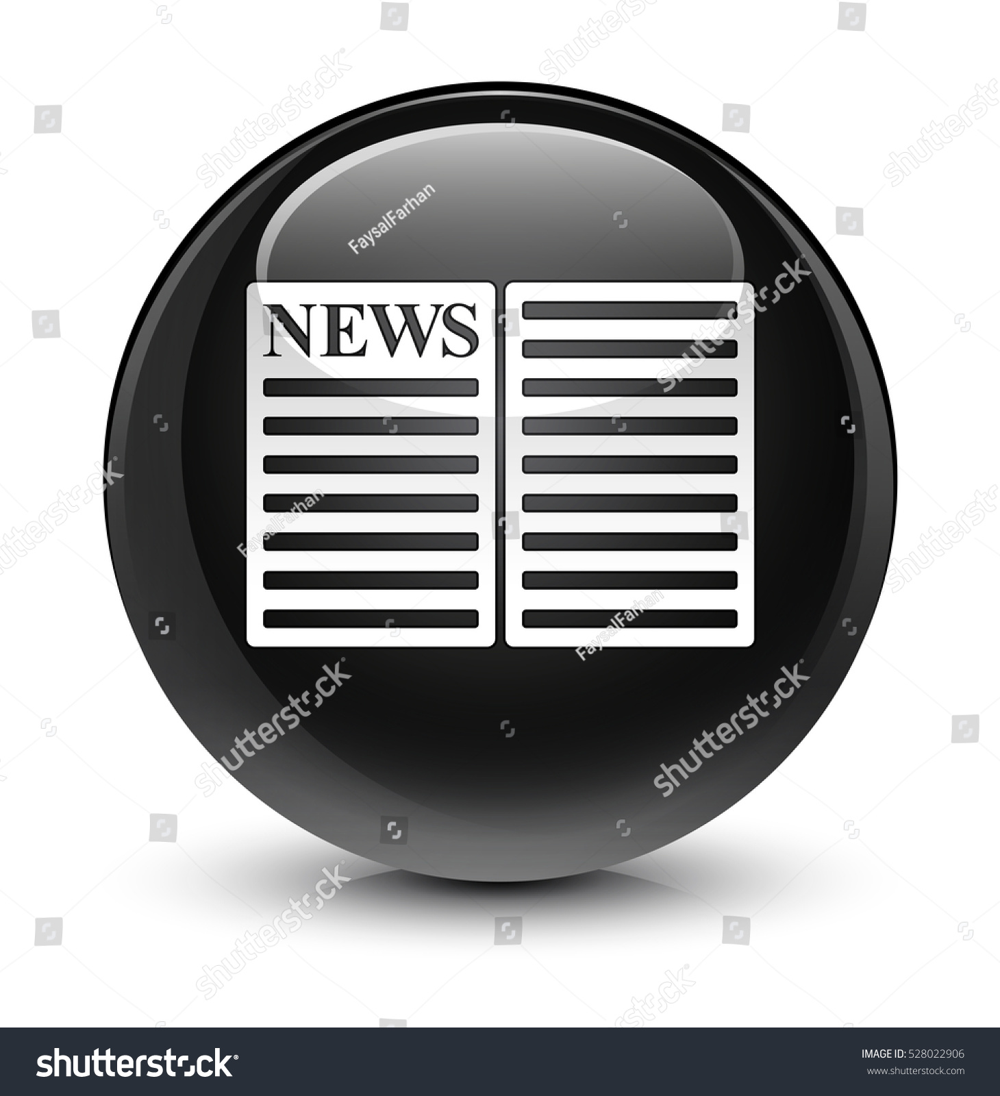 newspaper icon glassy black round button stock illustration