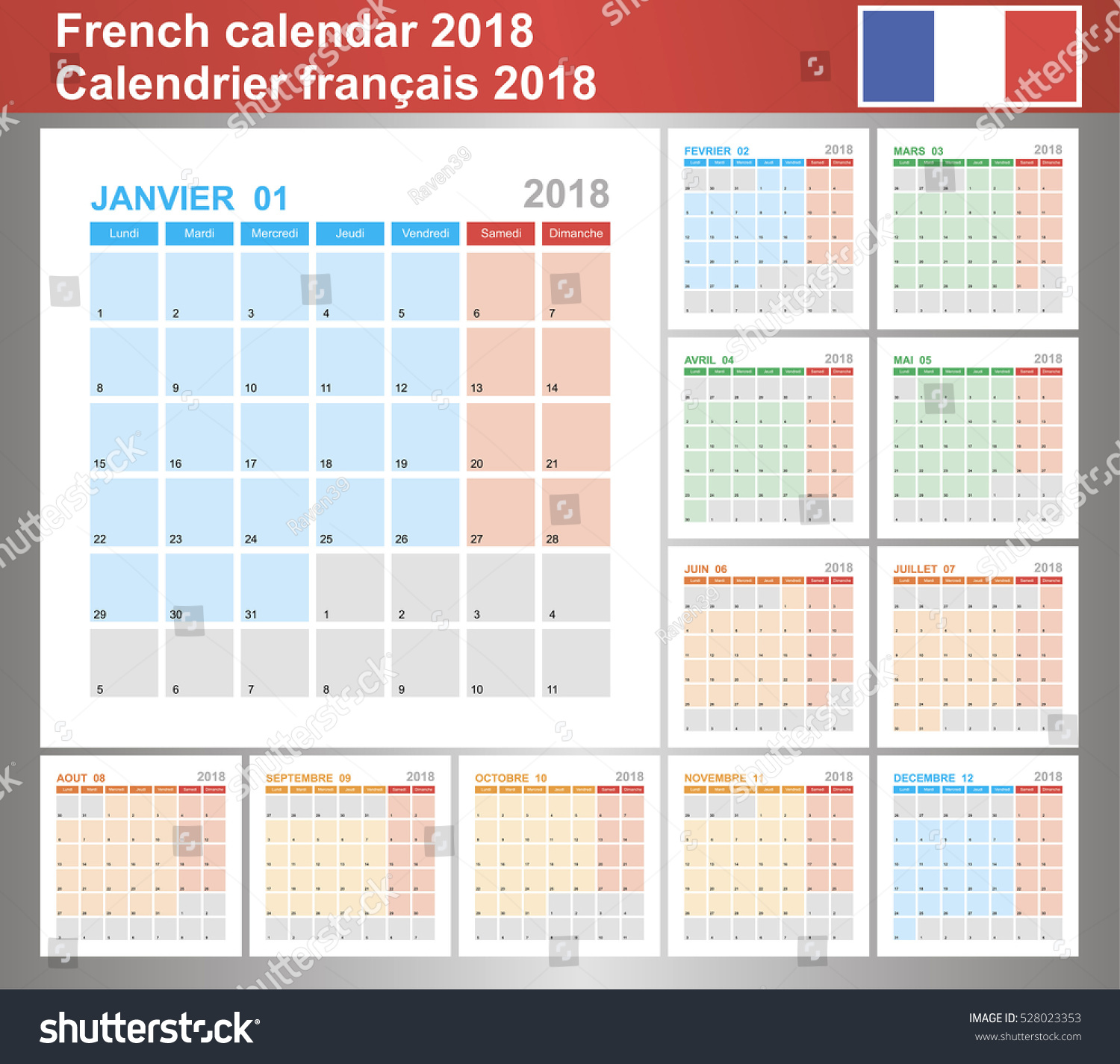 Calendar 2018 French Planning Calendar Template Stock Vector ...