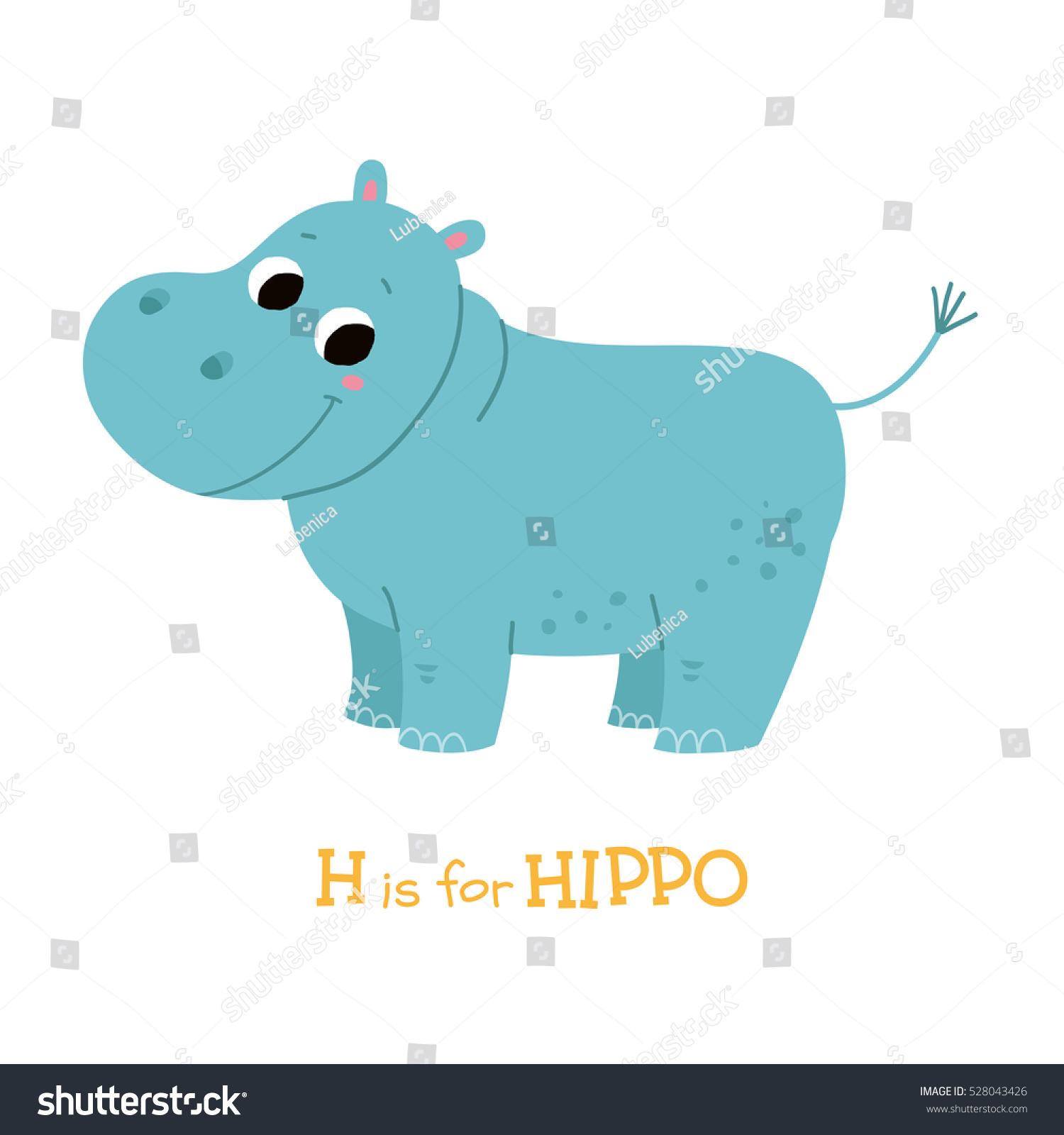 Cute hippo baby cartoon vector hand stock vector 528043426 cute hippo baby cartoon vector hand drawn eps 10 illustration isolated on white background voltagebd Images