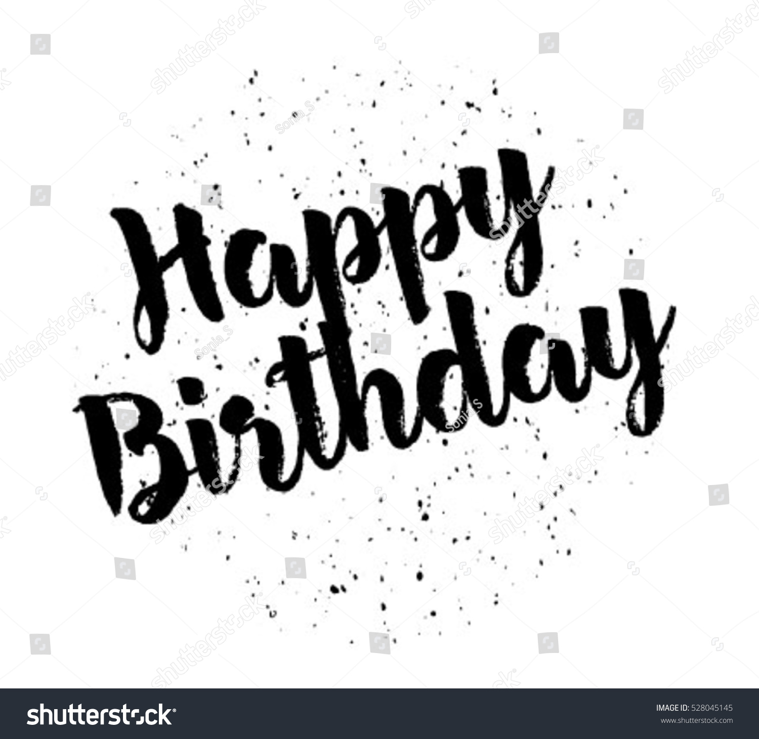 Happy Birthday Vector Text Calligraphic Lettering Design Card Calligraphy Font Style