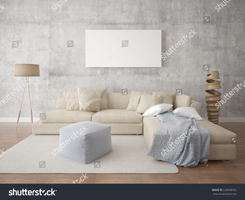 Mock Poster Stylish Living Room Floor Stock Illustration 528058702 ...