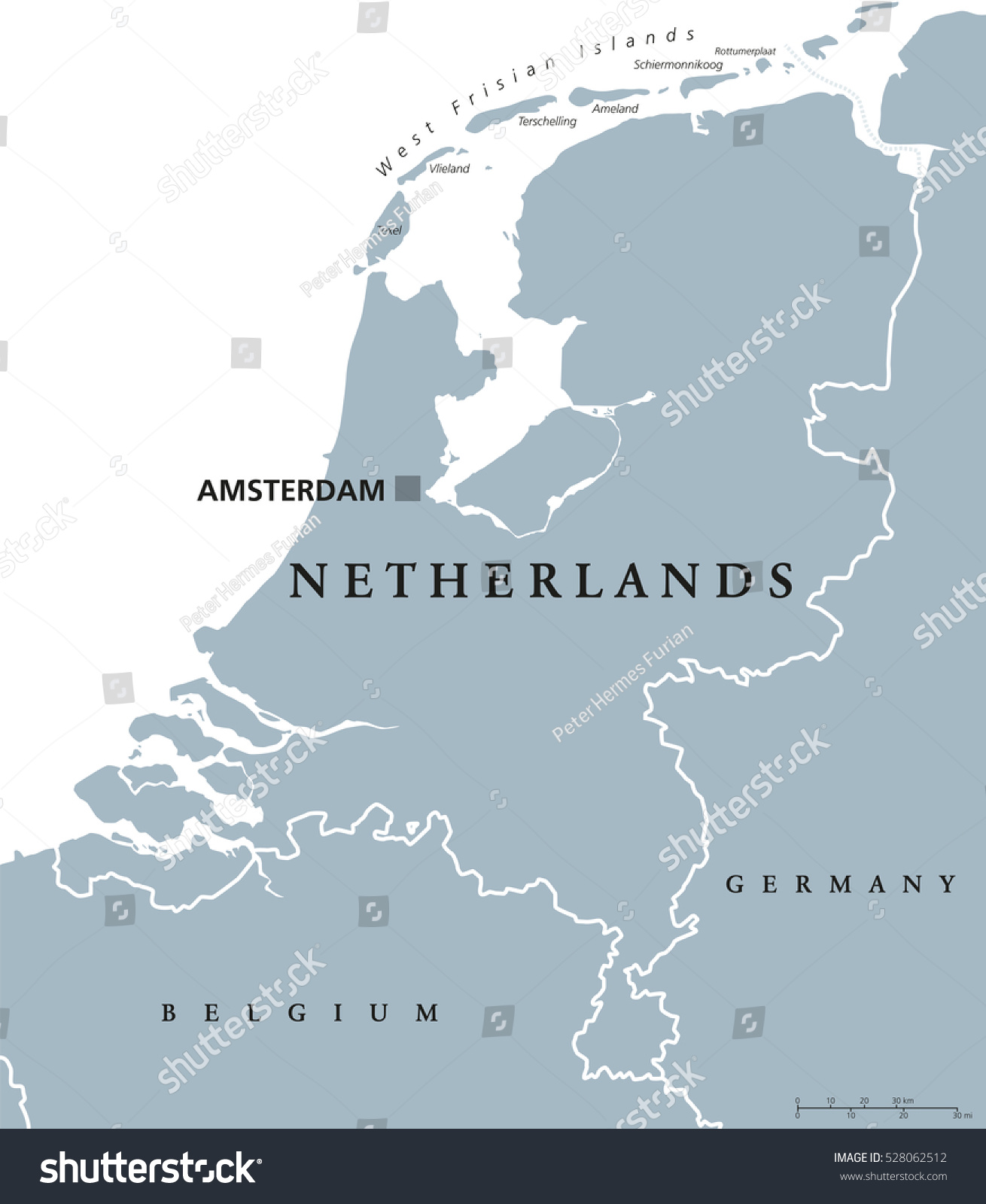 Netherlands Political Map Capital Amsterdam Holland Stock Vector - Germany map neighbouring countries