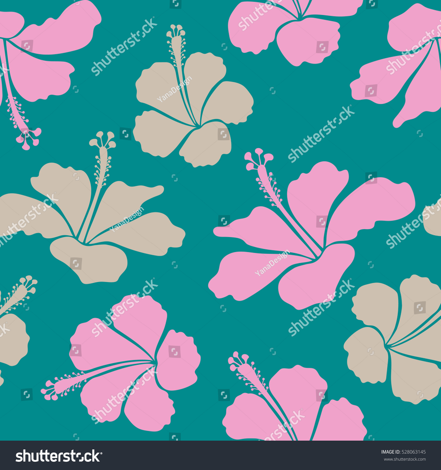 Cute pattern neutral blue pink hibiscus stock illustration 528063145 cute pattern in neutral blue and pink hibiscus flowers the elegant the template for izmirmasajfo