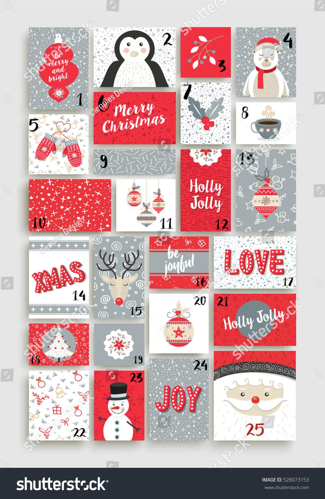 Retro Calendar Design : Merry christmas advent calendar design made of cute retro