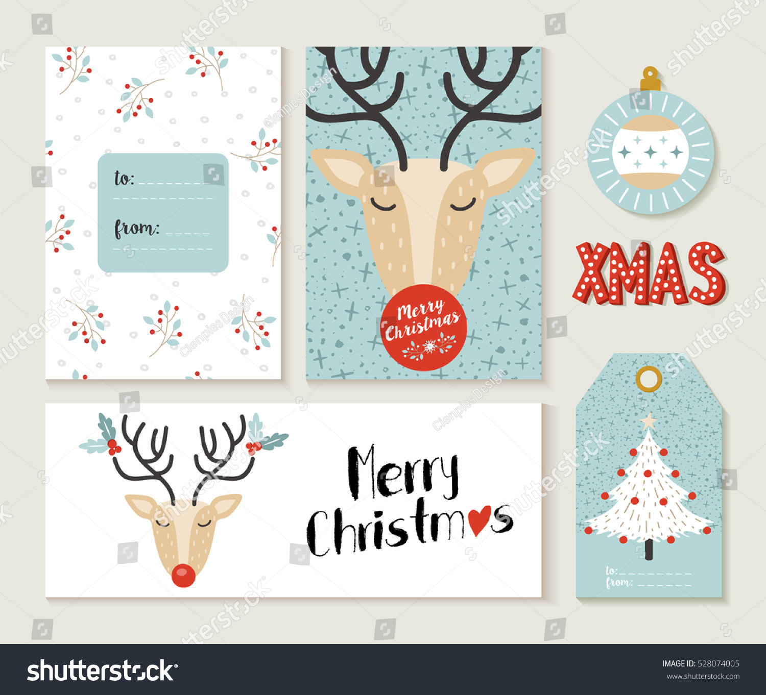 Set cute merry christmas greeting card stock vector 528074005 set of cute merry christmas greeting card decoration designs header label and gift tag m4hsunfo Gallery