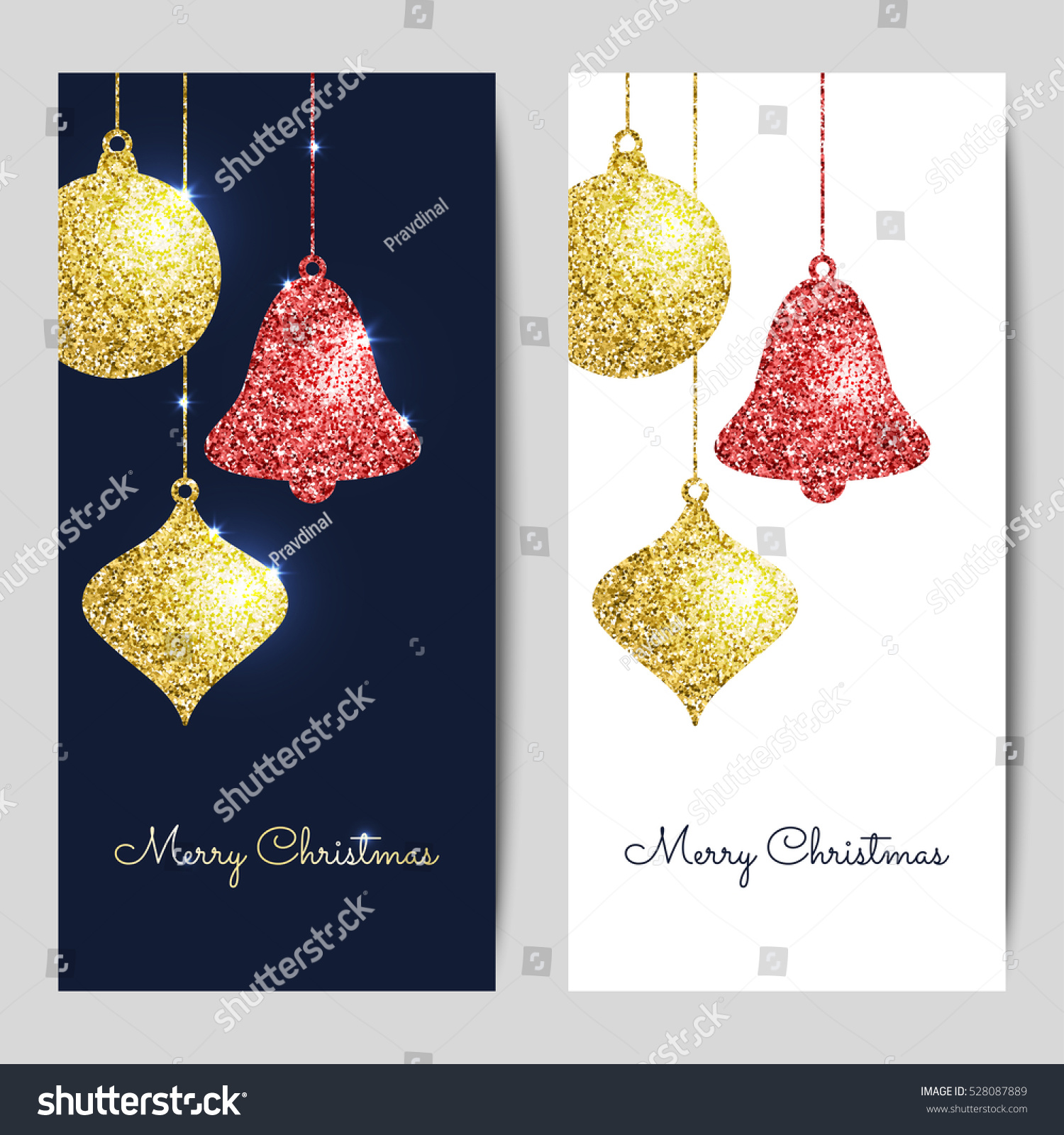 merry christmas backgrounds gold red hanging stock vector