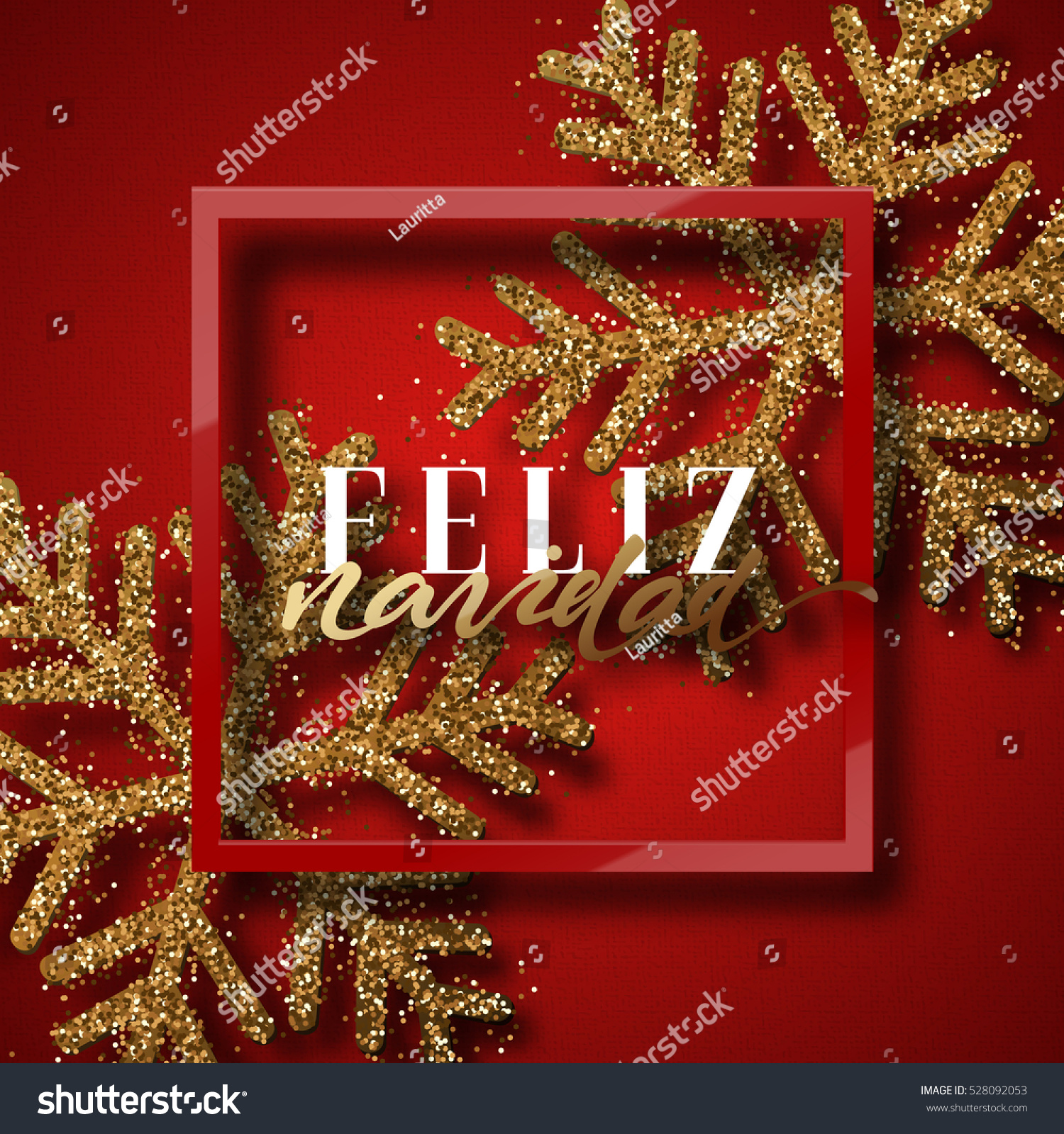 Merry En: Merry Christmas Spanish Inscription Feliz Navidad Stock
