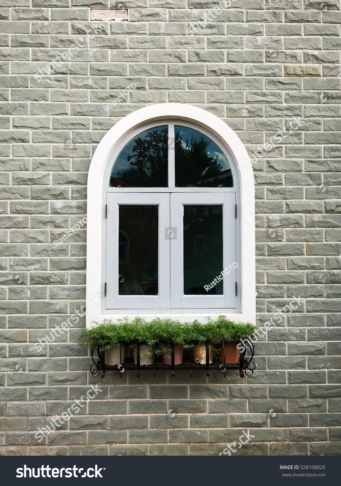 European Style Window Brick Wall Background Stock Photo