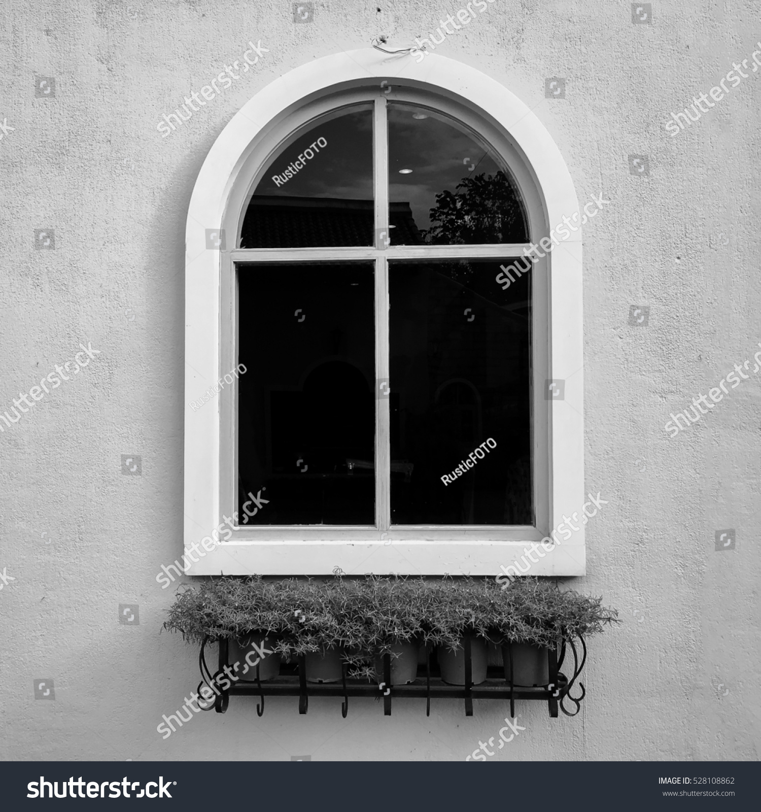 European Style Window Sand Wall Background Stock Photo