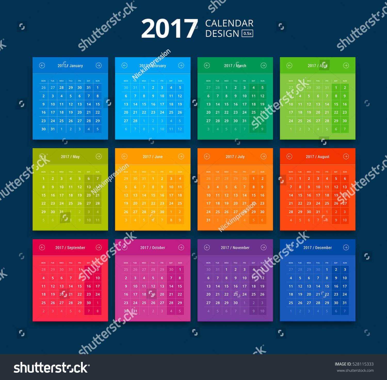 Material Design Calendar : Vector calendar material design style stock