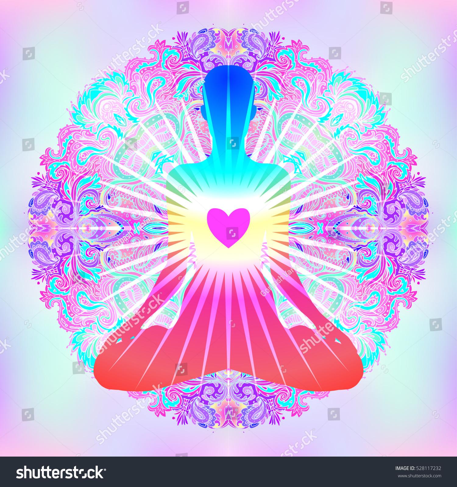 Heart Chakra Concept Inner Love Light Stock Vector (Royalty Free ...