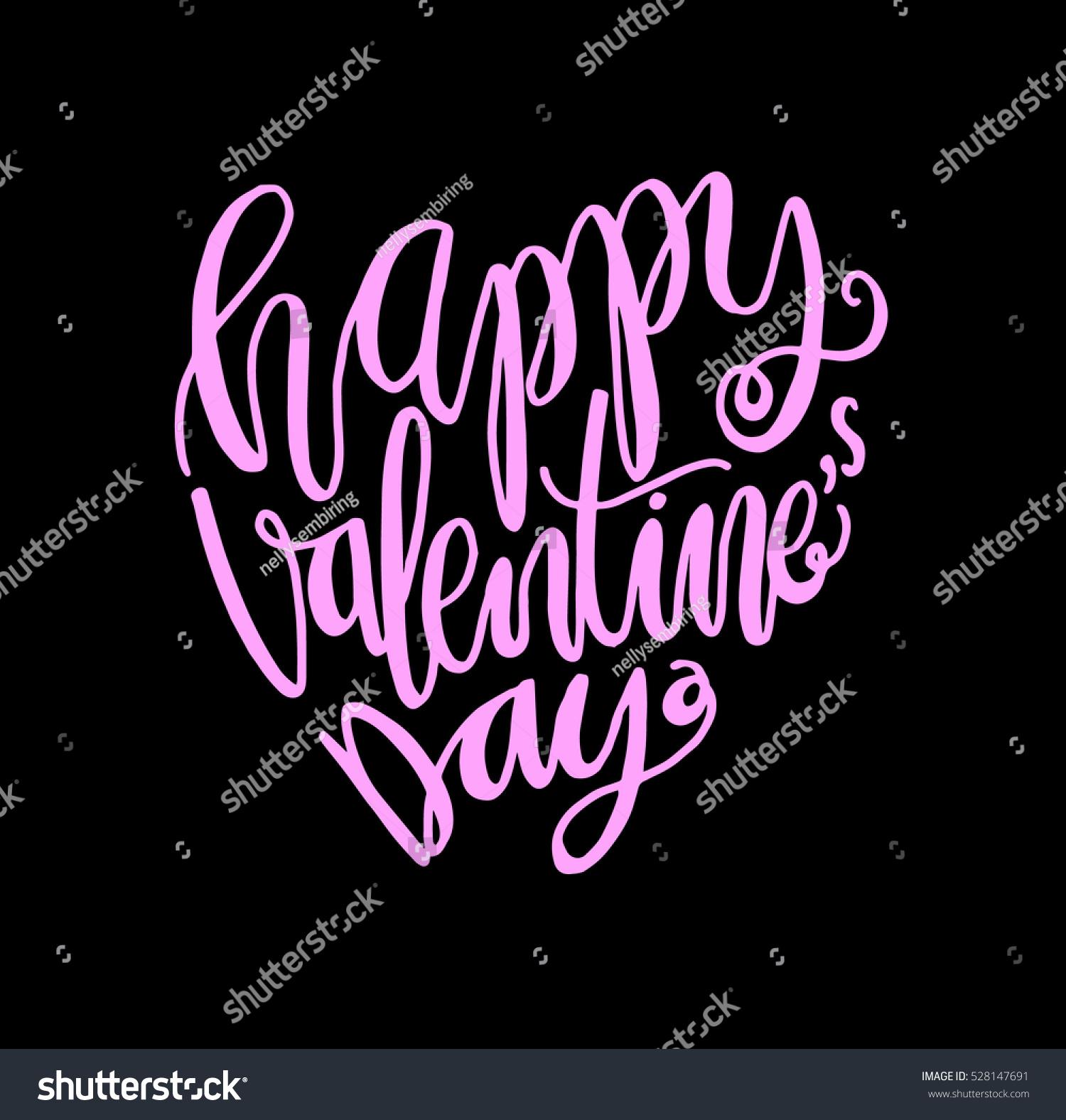 happy valentines day handwritten lettering modern stock vector