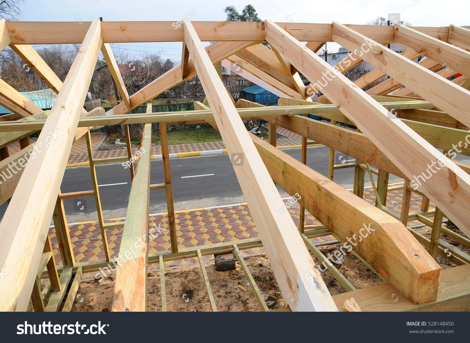 the wooden structure of the building wooden frame building wooden roof construction photo - Wood Frame Building
