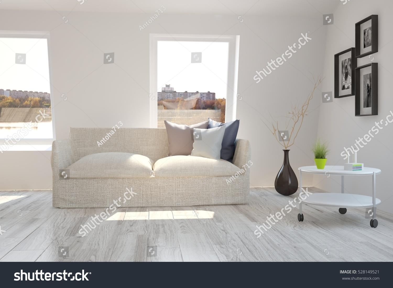 White Room Sofa Urban Landscape Window Stock Illustration