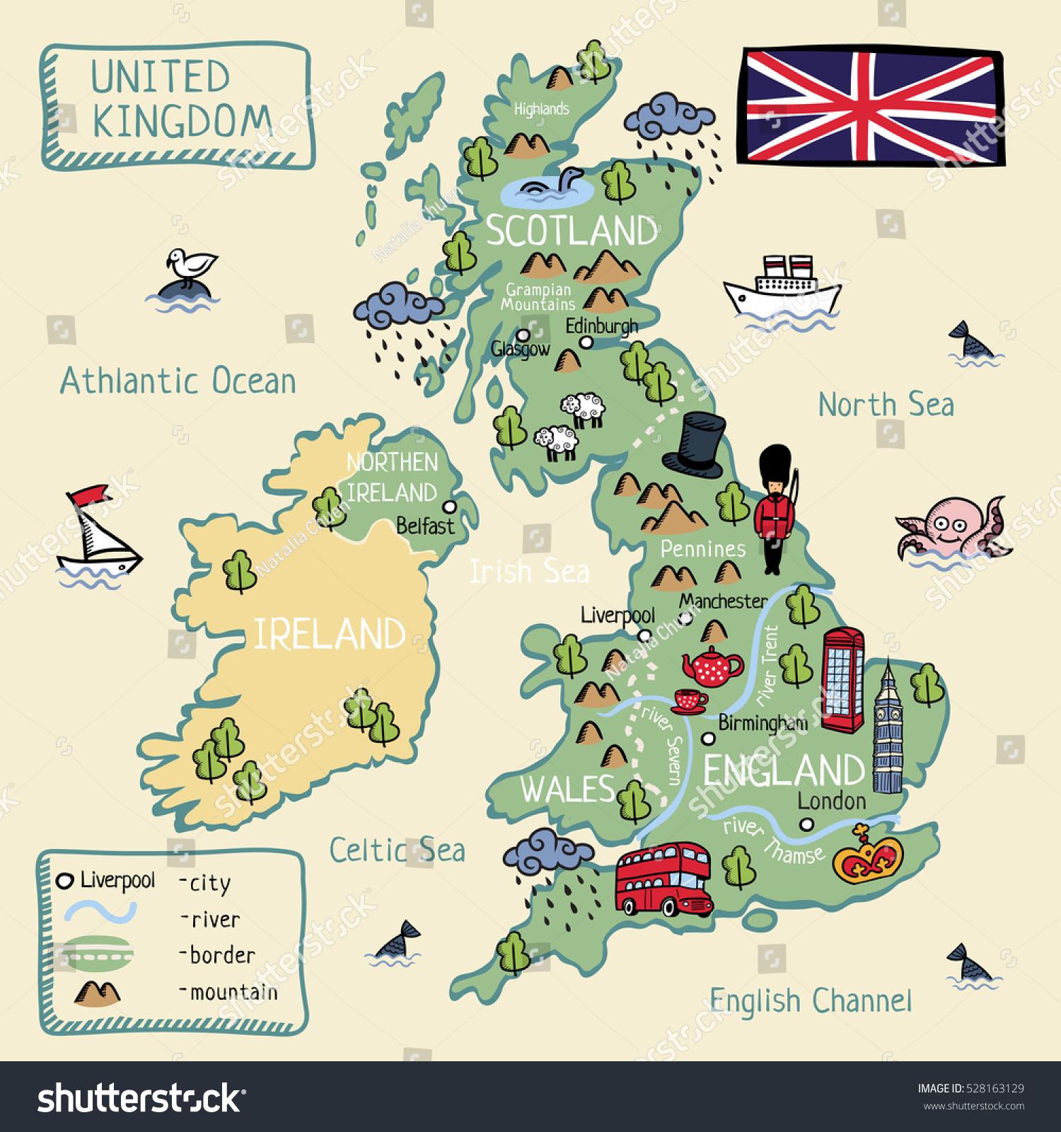 Sarjakuva Kartta Yhdistynyt Kuningaskunta Englanti Skotlanti
