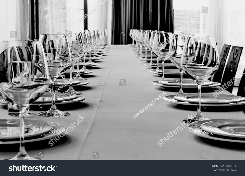Black White Photo Table Setting Banquet Stock Photo Edit Now 528181336