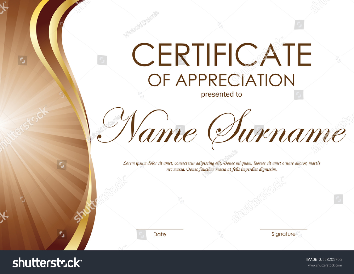Certificate appreciation template brown gold wavy stock vector certificate of appreciation template with brown and gold wavy curved swirl background vector illustration alramifo Image collections