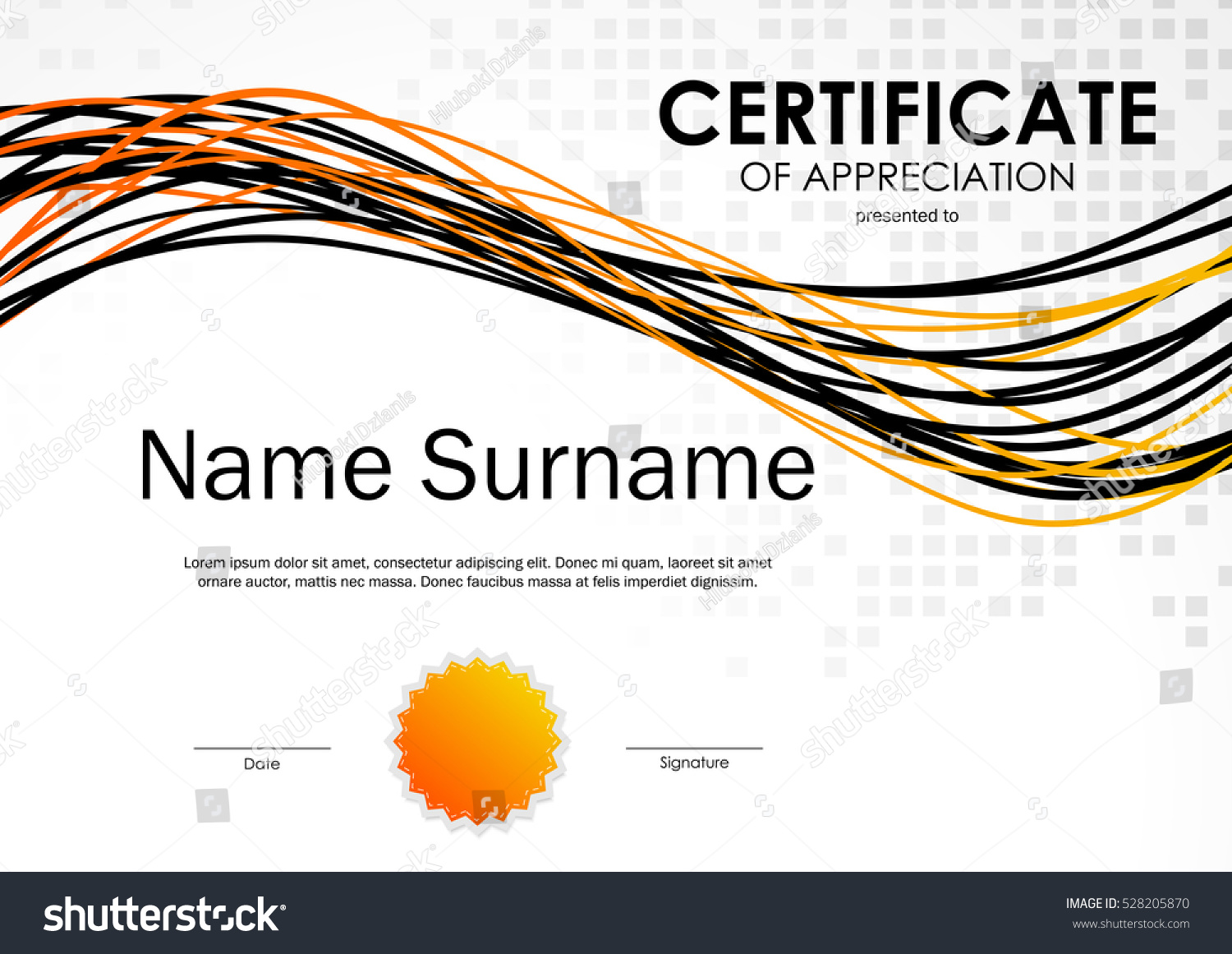Certificate Appreciation Template Square Mosaic Surface Stock Vector