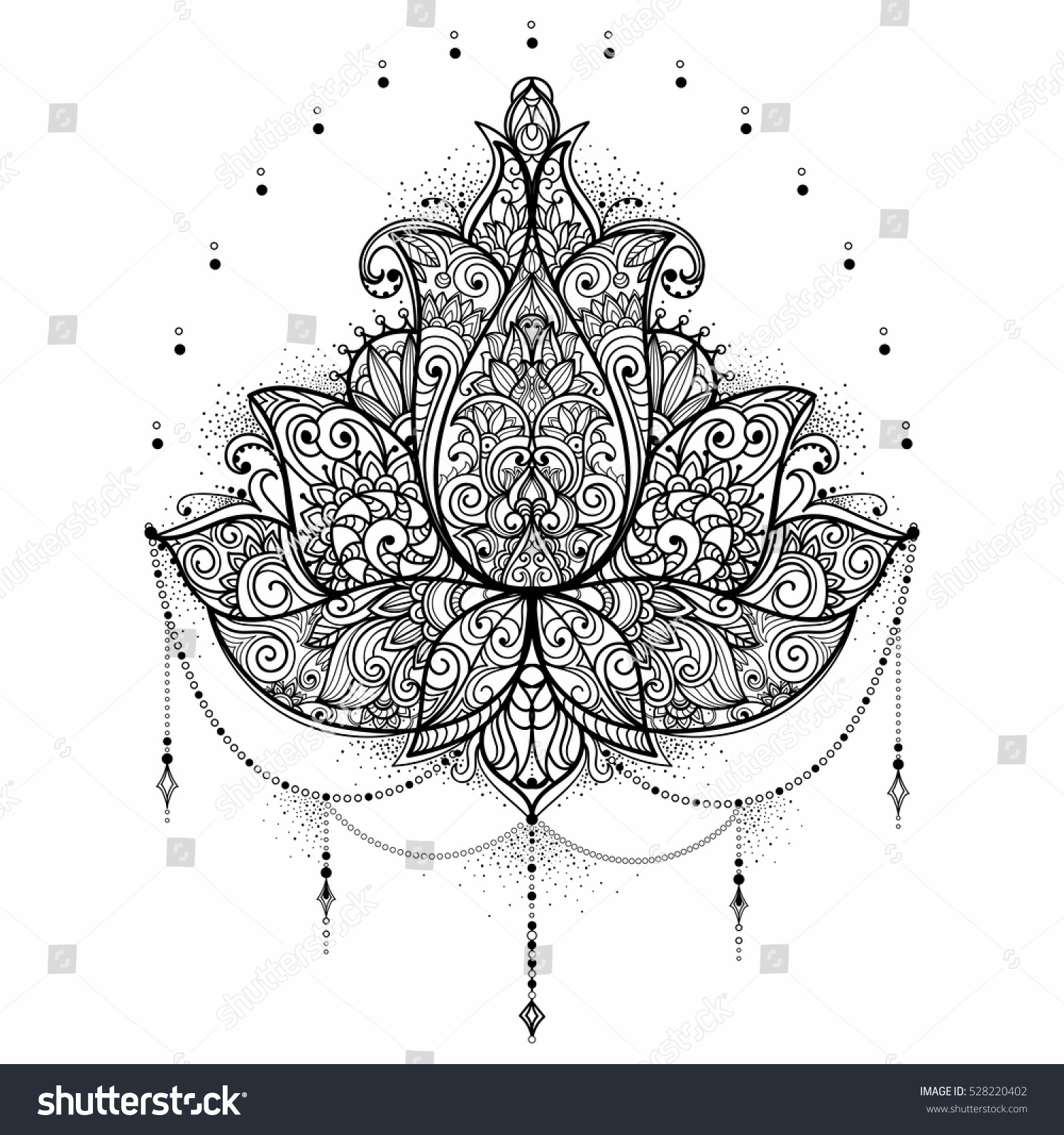 Hand drawn ornamental lotus flower adult stock vector 528220402 hand drawn ornamental lotus flower for adult coloring book tattoo t shirt design izmirmasajfo Images