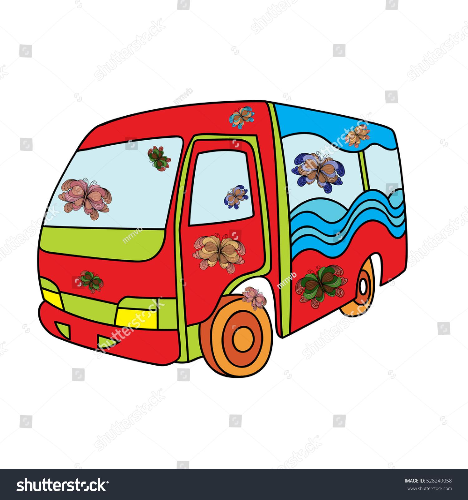 Handdrawn Bus Doodle Art Style Hippie Stock Vector 528249058 ...