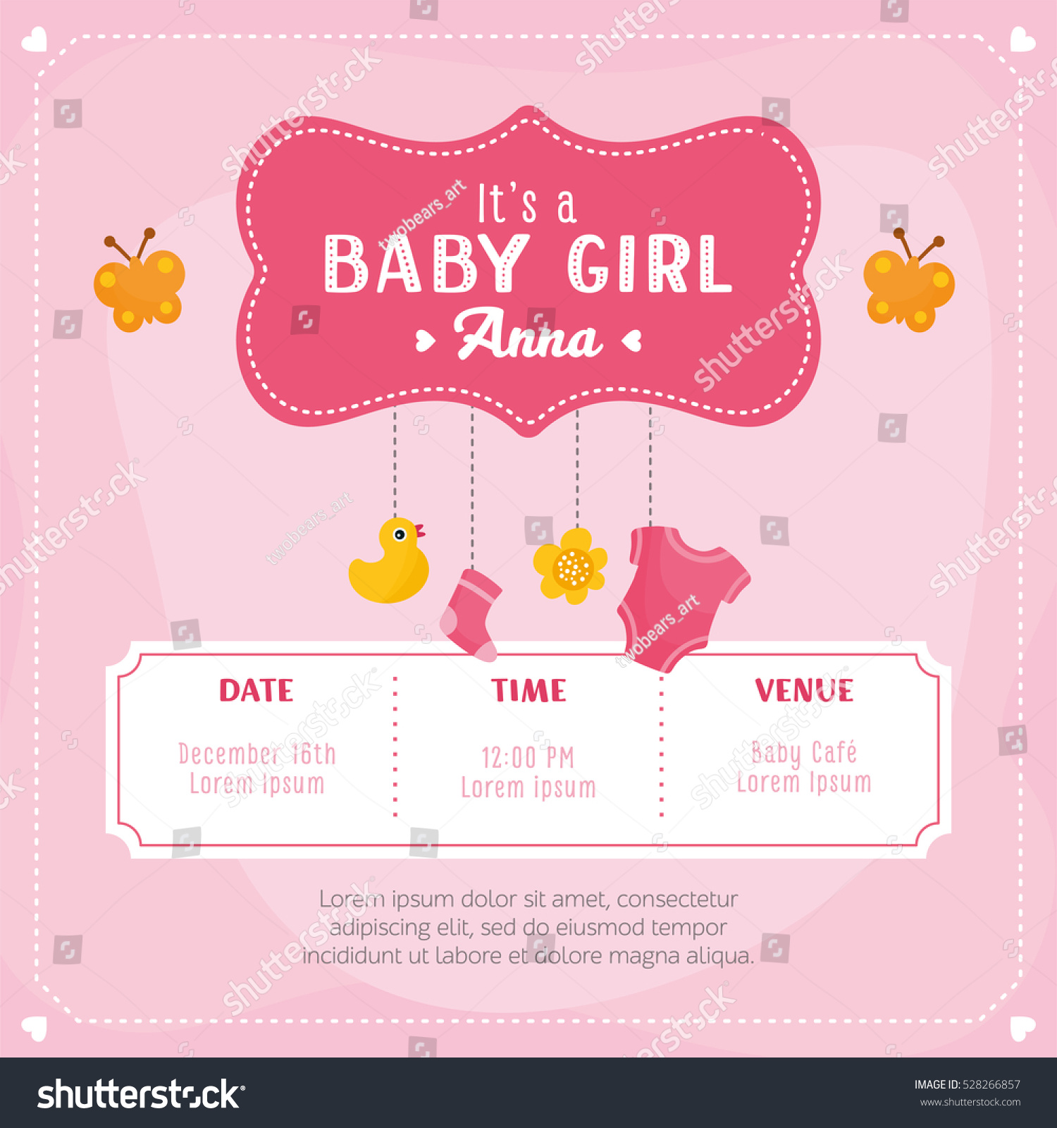 Baby girl shower card invitation template stock vector for Baby shower place cards template