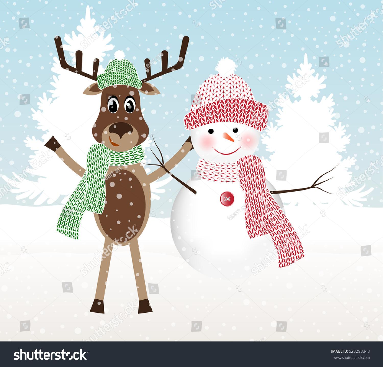 Snowman Christmas Reindeer Peeking Out Woods Stock Vector (Royalty ...