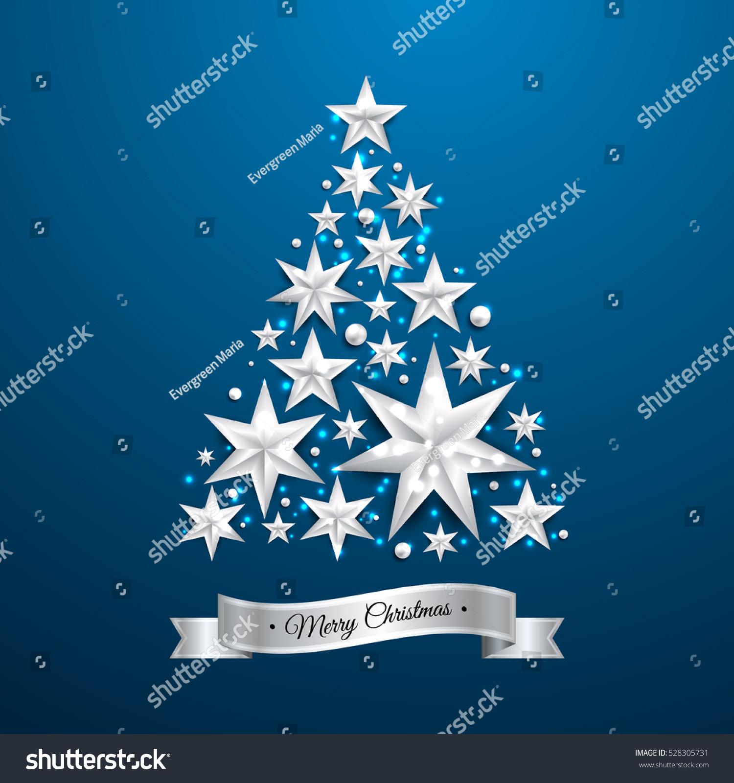 Star Shape Christmas Tree Silver Foil Stock Vector 528305731 ...