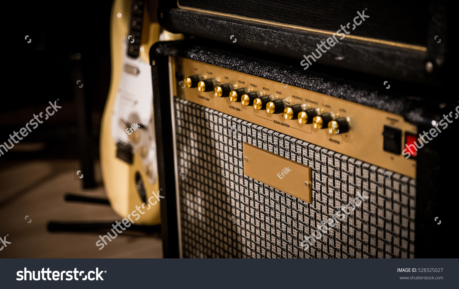 vintage style amp guitar background stock photo 528325027