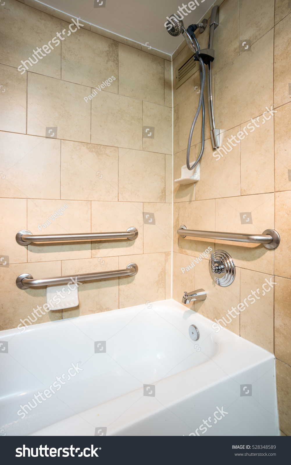 Disabled Access Bathtub in a Hotel Room with Grab Bar Hand Rails ...
