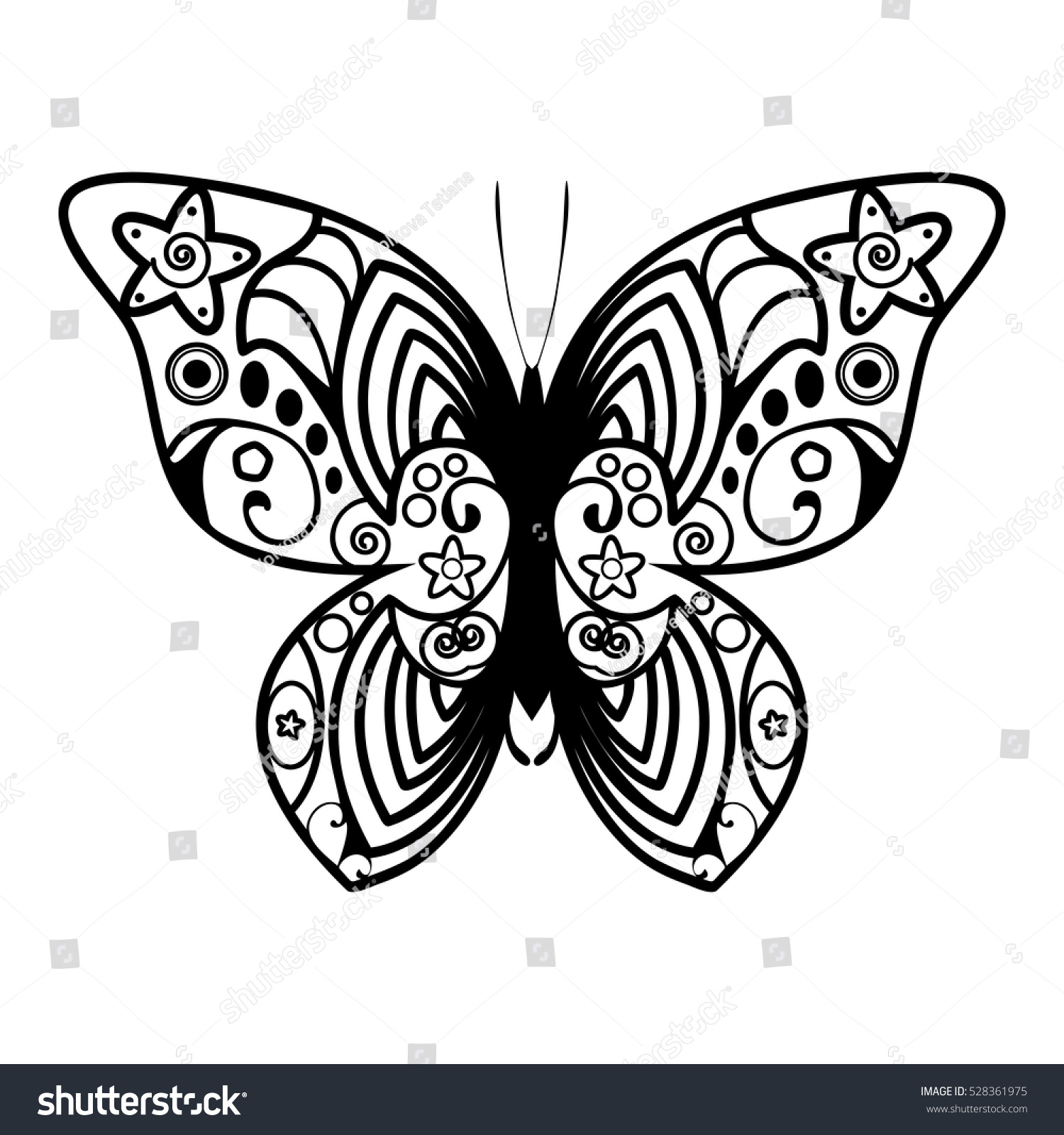 vector butterfly cartoon outline illustration coloring stock