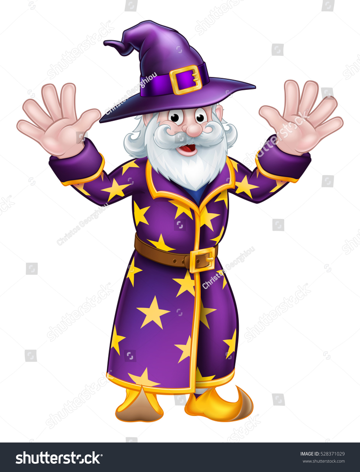Cartoon Halloween Wizard Character Waving Both Stock Vector ...